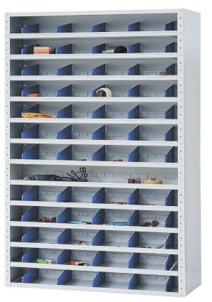 Ein geöffneter Stahlschrank mit verschiedenen Einschüben