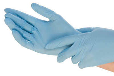blaue Einmalhandschuhe aus Nitril