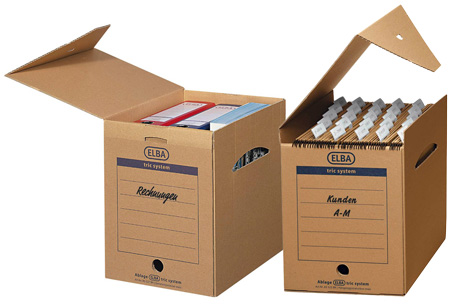 2 ELBA Archivboxen verschieden befüllt