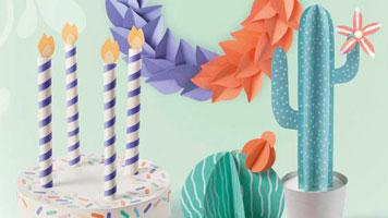 Geburtstagstorte, Kranz und zweierlei Kakteen basteln