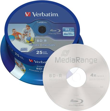 Blu-ray-Spindel und einzelne Blu-ray-Disk