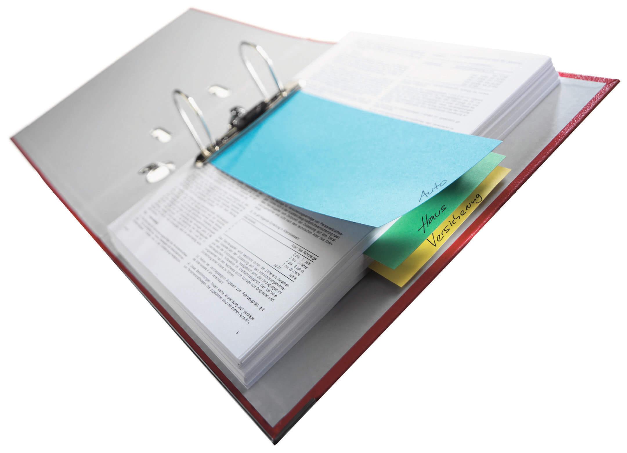 Ein Buntes Papier zur Darstellung von Unterteilungen in einem Aktenordner