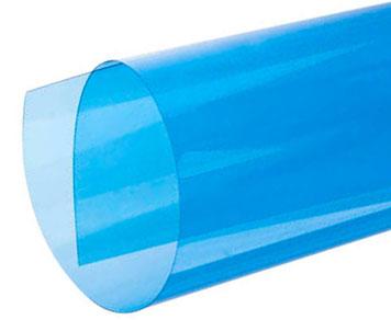 Aufgerolltes blaues transparentes Deckblatt