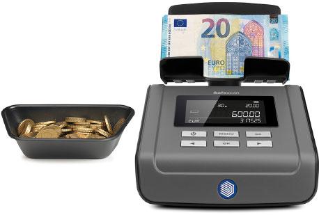 Eine elektronische Zählmaschine für Scheine und Münzen