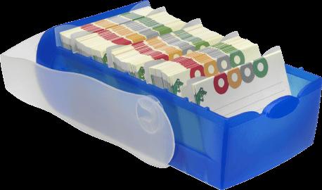 Karteikasten aus Kunststoff mit Deckel
