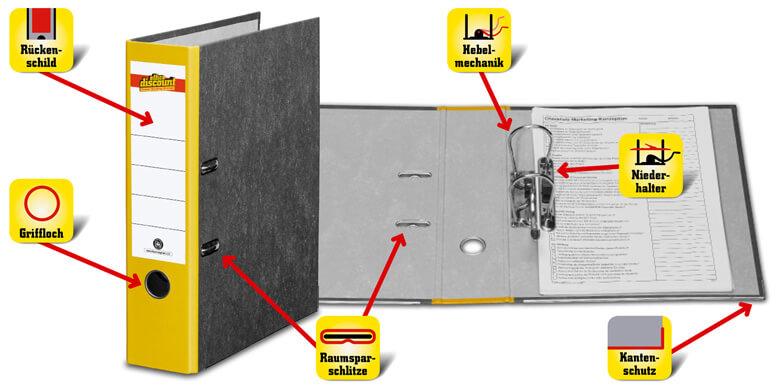 Motiv Bilbliothek Adressordner A6 mit Ringbuch für normalen Locher