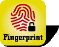 Piktogramm für Festplatten mit Fingerabdrucksensor