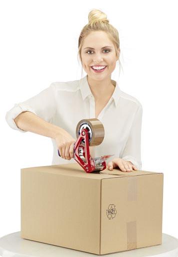 Ein Berg Packbänder in braun und transparent mit ODI der ein Paket trägt