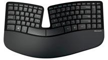 Ergonmisch geschwungene Tastatur von Microsoft in schwarz