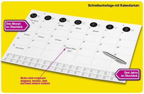 Kalender als Schreibunterlage