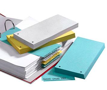 Trennstreifen mit unterschiedlichem Papiergewicht