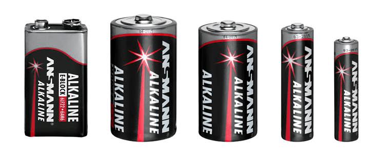 5 Batterien von Ansmann - E-Block, Mono D, Baby C, Mignon AA, Micro AAA