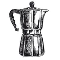 Zeichnung eines Espressokochers
