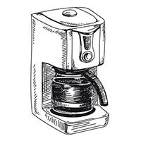 Zeichnung einer Filterkaffeemaschine