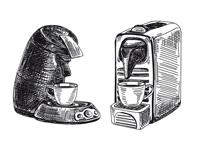 Zeichnung von Kaffeepadmaschine und Kapselmaschine