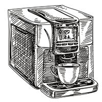 Zeichnung eines Kaffeevollautomaten