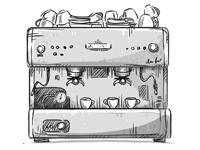 Zeichnung einer Siebträgermaschine
