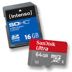 Zwei Speicher von Intenso SDHC 16 GB und SanDisk Ultra 64 GB microSDXC