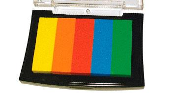 Stempelkissen mit Regenbogenfarben