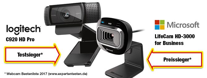 Webcams Testsieger und Preissieger 2017: logitech C920 HD Pro und Microsoft HD 3000