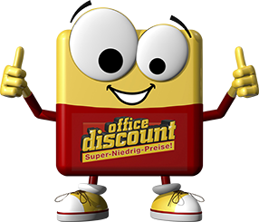 office discount Maskottchen streckt beide Daumen hoch