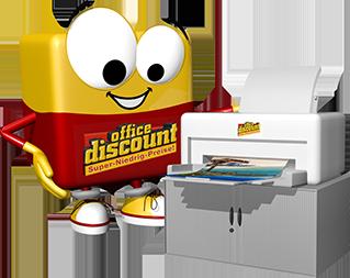 office discount Maskottchen Odi steht neben einem Drucker
