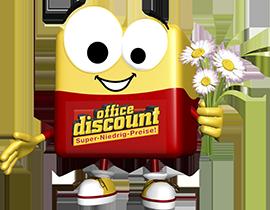 office discount Maskottchen Odi trägt einen Strauss Margeriten