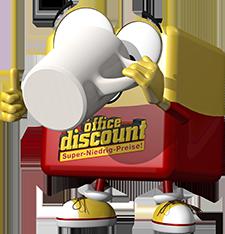 office discount Maskottchen Odi trinkt aus einer Kaffeetasse