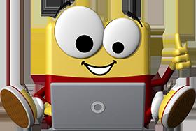 office discount Maskottchen Odi sitzt hinter seinem Laptop