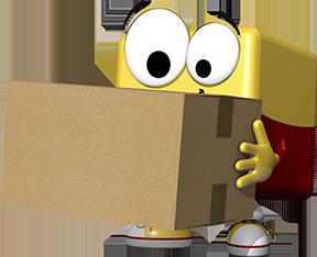 office discount Maskottchen Odi traegt ein Paket