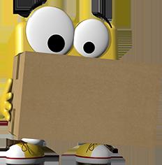 office discount Maskottchen Odi trägt ein Paket