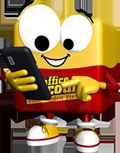 office discount Maskottchen Odi tippt auf seinem Handy