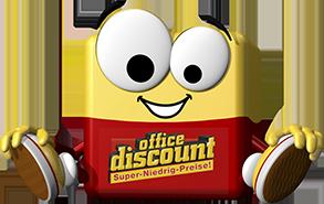 office discount Maskottchen Odi sitzt auf dem Boden