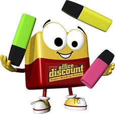 office discount Maskottchen Odi jongliert mit bunten Markern