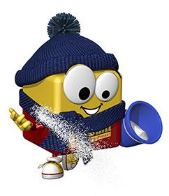 office discount Maskottchen traegt einen blauen Eimer und streut Salz