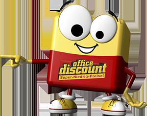 office discount Maskottchen Odi zeigt nach links