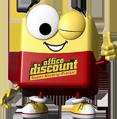 office discount Maskottchen Odi zwinkert mit dem linken Auge