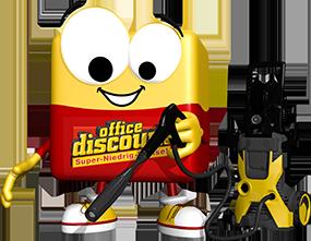 office discount Maskottchen Odi reinigt den Boden mit einem Hochdruckreiniger