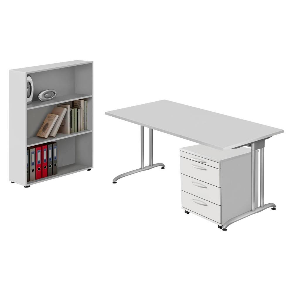HAMMERBACHER Büromöbel-Set Altus grau rechteckig günstig online ...