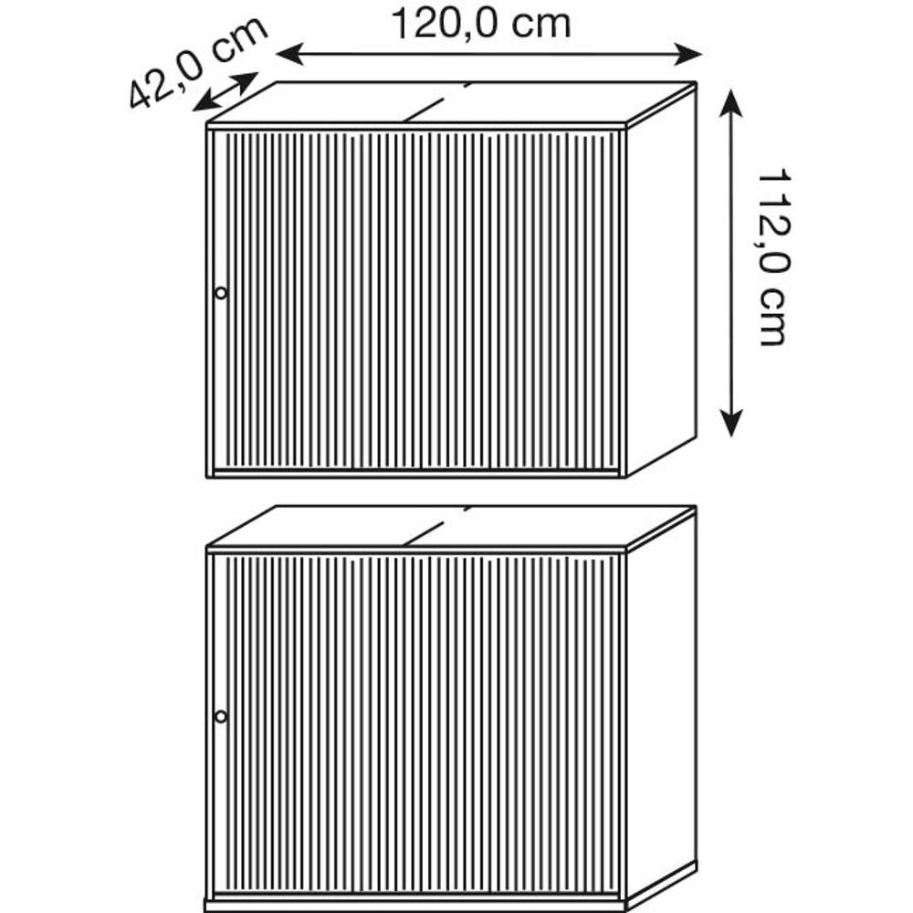 WELLEMÖBEL Rollladenschrank Hyper alu/grau 2 Fachböden günstig ...